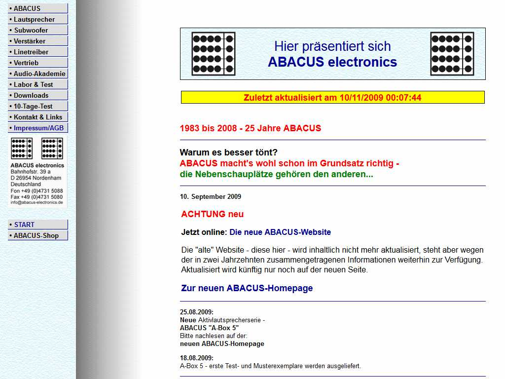 ABACUS Website bis 2009