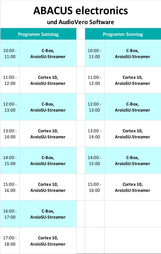 Süddeutsche HiFi-Tage in Stuttgart Programm 1