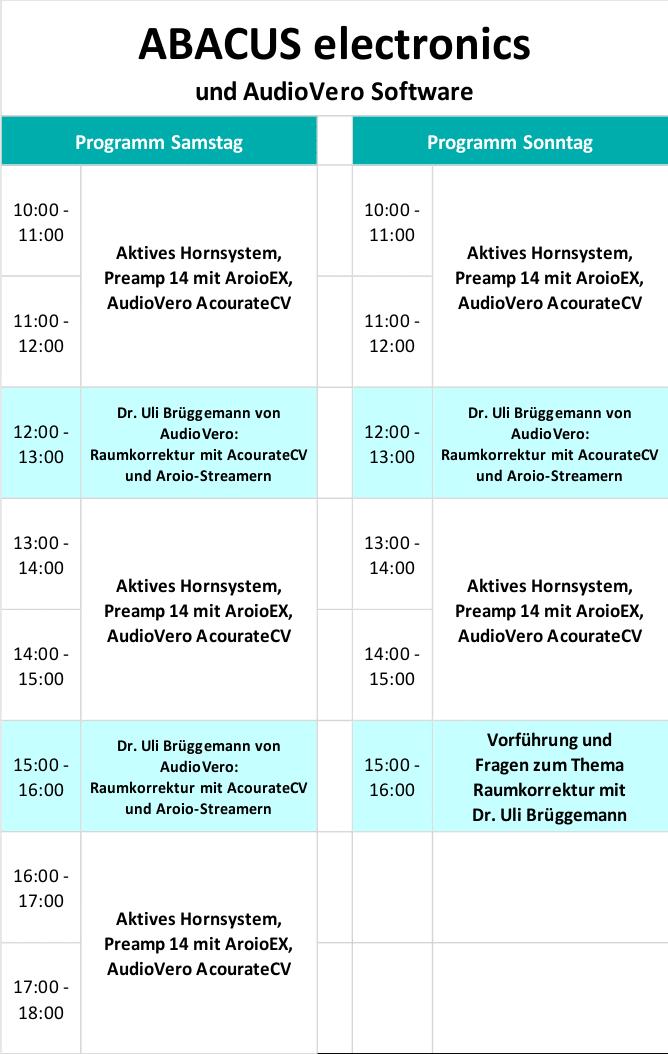 Süddeutsche HiFi-Tage in Stuttgart Programm 2
