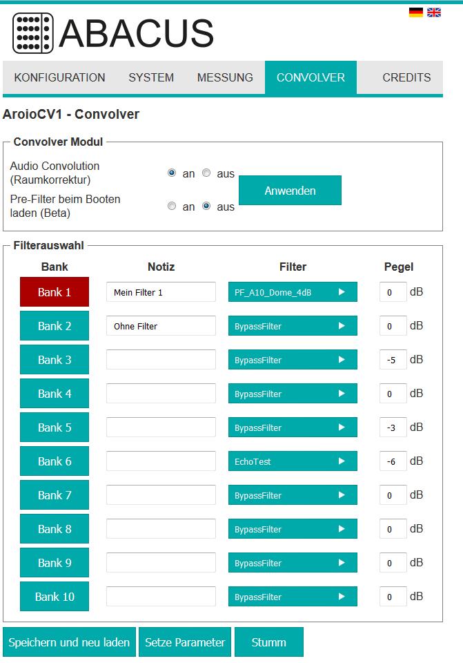 Aroio Webinterface Version 3.48-beta Convolver