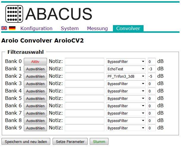 Convolver-Modul im Aroio Webinterface