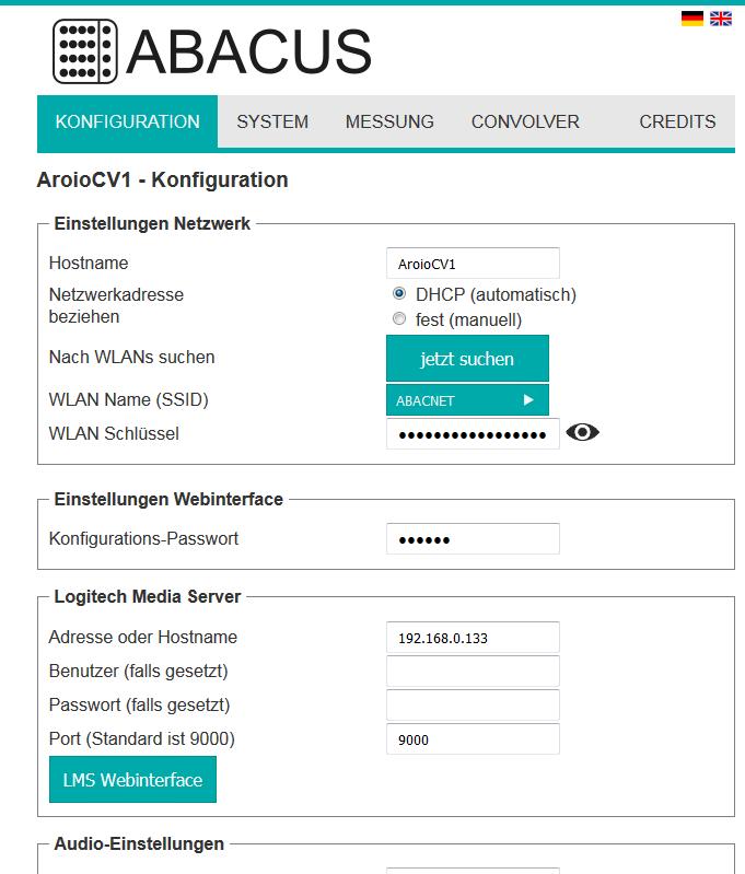 Aroio Webinterface Version 3.48-beta Index