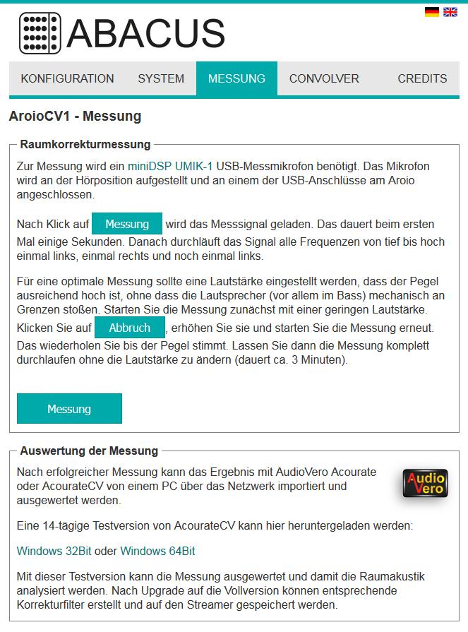 Aroio Webinterface Version 3.48-beta Messung