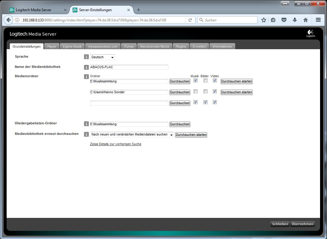 Logitech Media Server - Webinterface